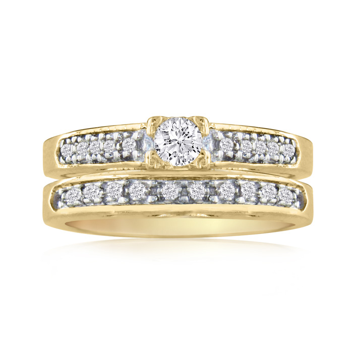 1 Carat Ladies Traditional Diamond Bridal Ring Set in 14k Yellow Gold (7 g), I/J by SuperJeweler