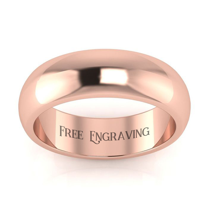 18K Rose Gold (7 g) 6MM Comfort Fit Ladies & Mens Wedding Band, S