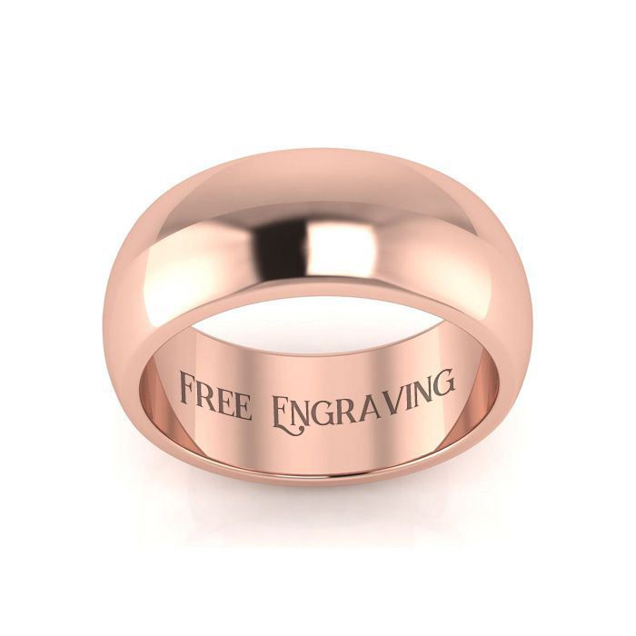 14K Rose Gold (8.3 g) 8MM Comfort Fit Ladies & Mens Wedding Band, Size 7.5, Free Engraving by SuperJeweler