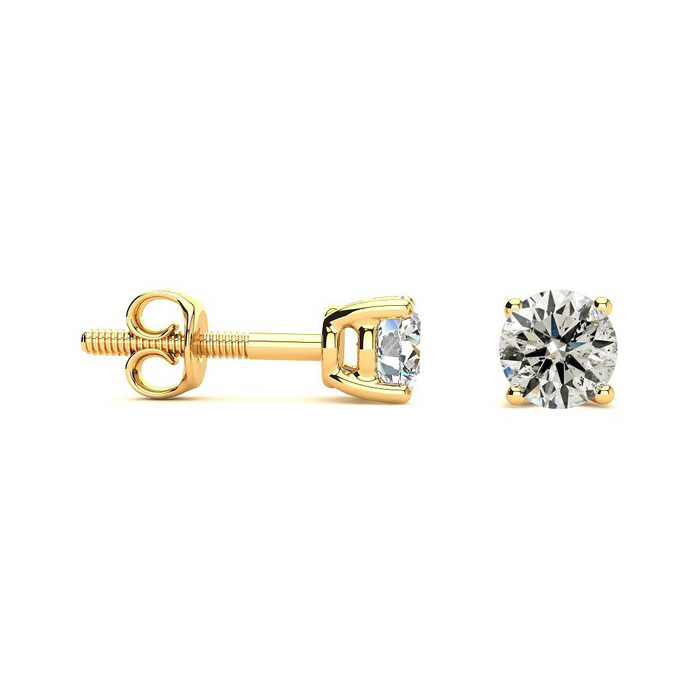 1/2 Carat Diamond Stud Earrings in 10k Yellow Gold, K/L by SuperJ