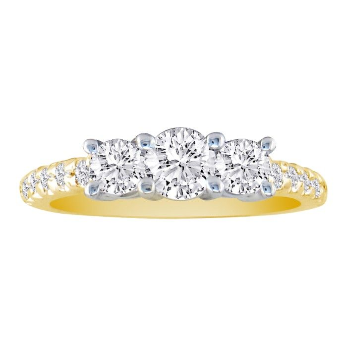 1ct Round Brilliant Cut Three Diamond Bridal Set in 14k Yellow Gold