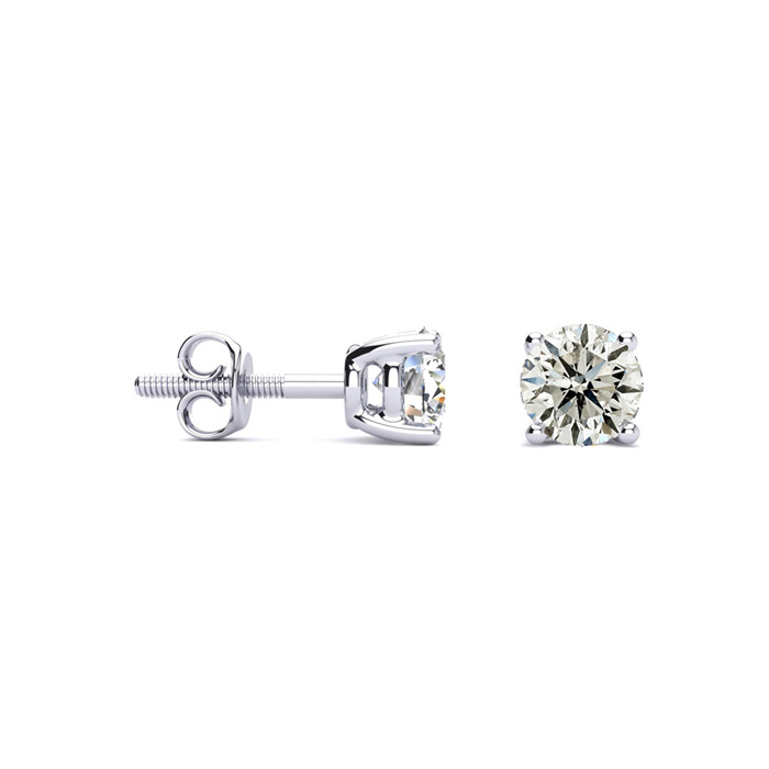 3/4 Carat Diamond Stud Earrings in 14k White Gold, I/J, I2 by Sup