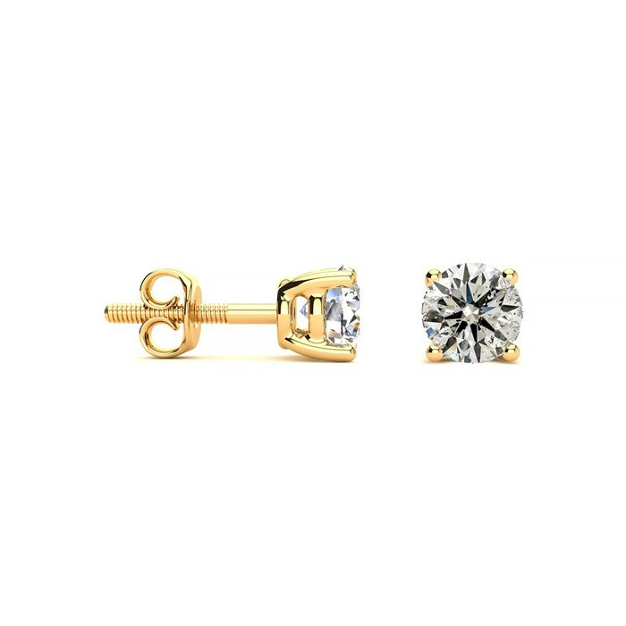 3/4 Carat Diamond Stud Earrings in 14k Yellow Gold, I/J by SuperJeweler