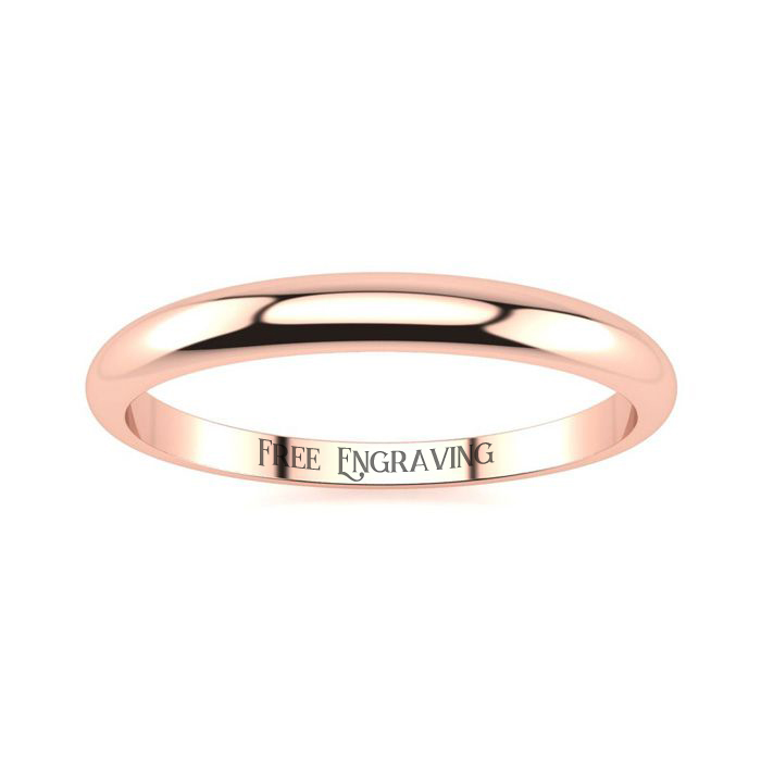 14K Rose Gold (2 g) 2MM Heavy Tapered Ladies & Mens Wedding Band,