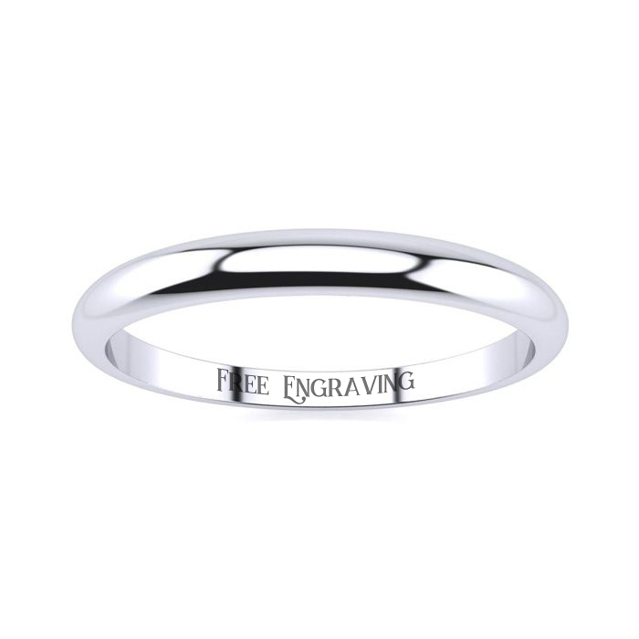 14K White Gold (1.8 g) 2MM Heavy Tapered Ladies & Mens Wedding Band, Size 5.5, Free Engraving by SuperJeweler