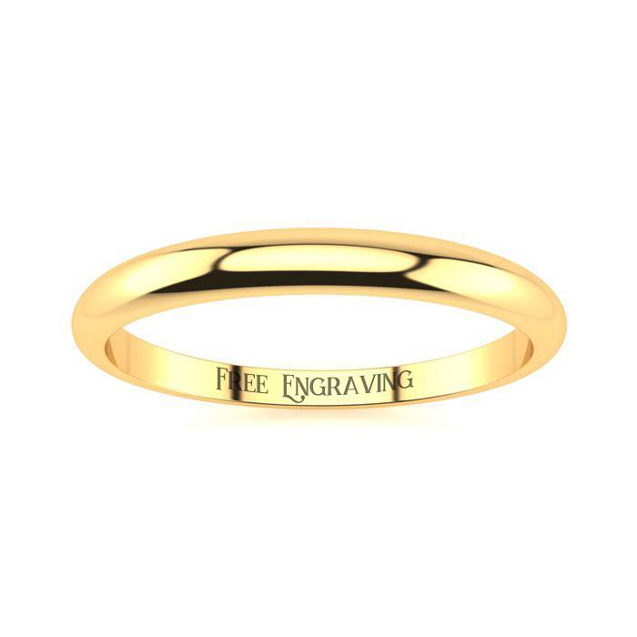 14K Yellow Gold (1.8 g) 2MM Heavy Tapered Ladies & Mens Wedding B