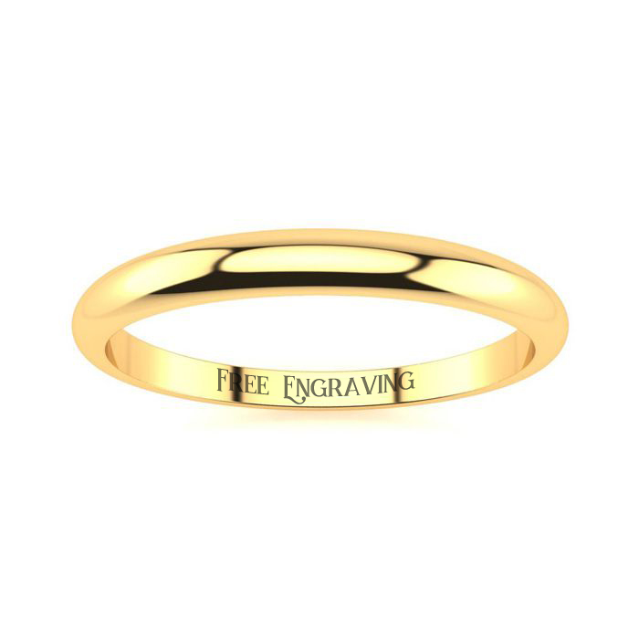 14K Yellow Gold 2MM Heavy Tapered Ladies and Mens Wedding Band, Size 8, Free..