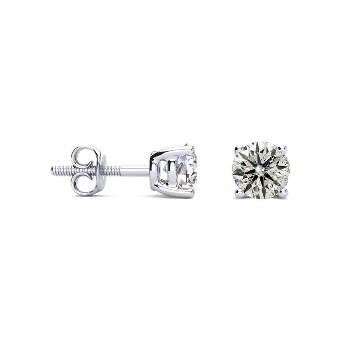 1 Carat Diamond Stud Earrings in 14k White Gold, K/L by SuperJewe