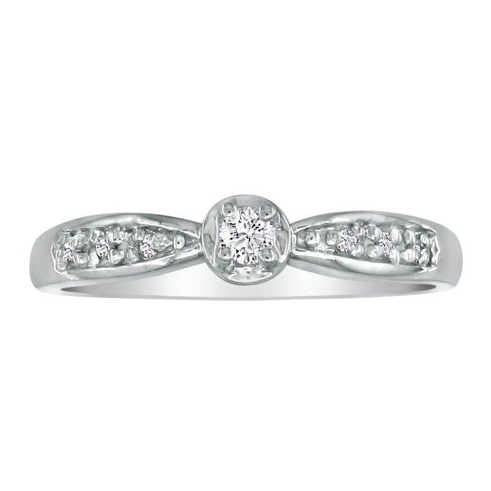 Mini Diamond Engagement Ring in 10k White Gold, I/J by SuperJewel