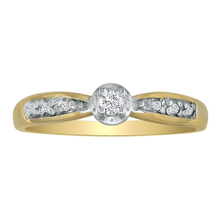 Mini Diamond Engagement Ring in 10k Yellow Gold, I/J by Hansa