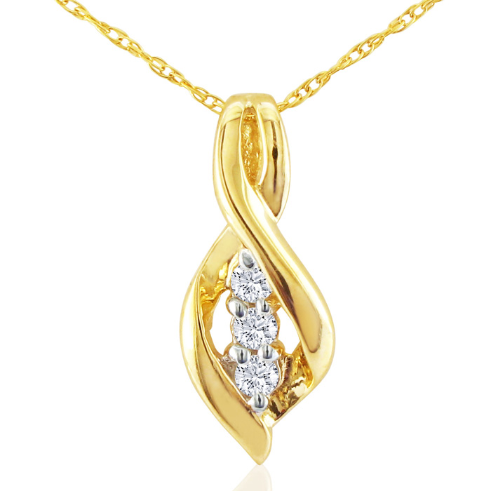 1/10 Carat Swirl Style Three Diamond Pendant Necklace in 10k Yell