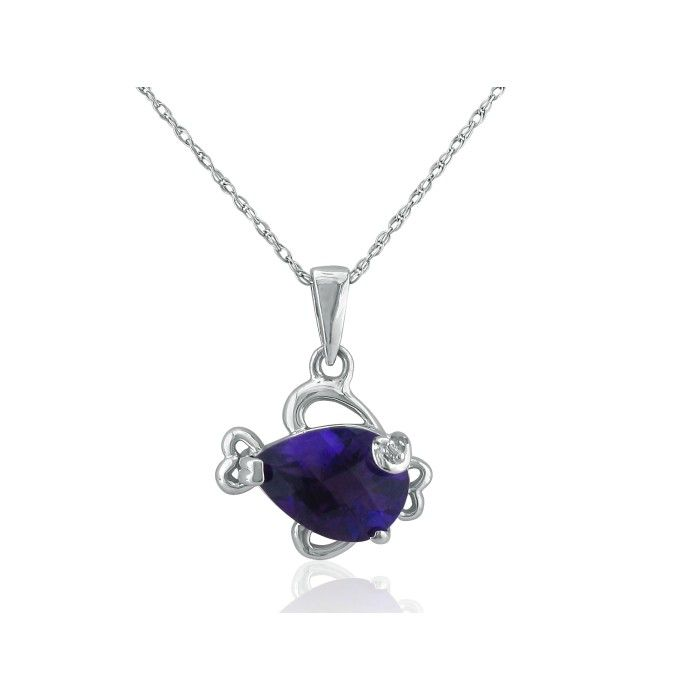 Amethyst and Diamond Fish Pendant in 10k