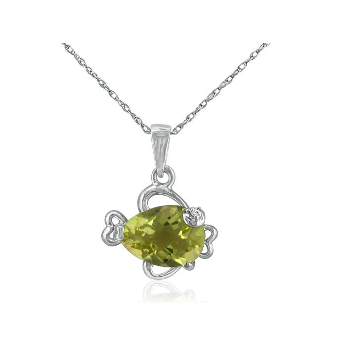 Lemon Quartz & Diamond Fish Pendant Necklace in 10k White Gold, I/J, 18 Inch Chain by SuperJeweler