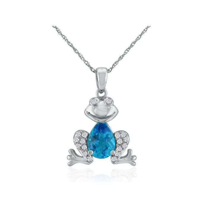 Ribbit Blue Topaz & Diamond Frog Pendant Necklace in 10k White Go
