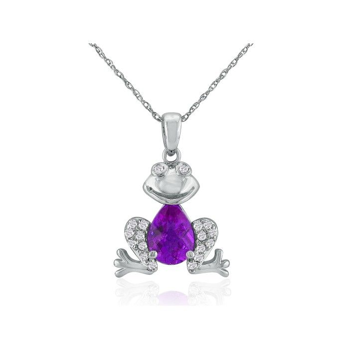 Ribbit Amethyst & Diamond Frog Pendant Necklace in 10k White Gold