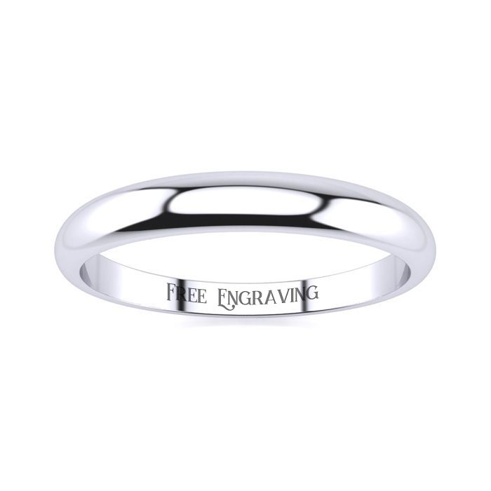 10K White Gold (2.8 g) 3MM Heavy Tapered Ladies & Mens Wedding Band, Size 16, Free Engraving by SuperJeweler