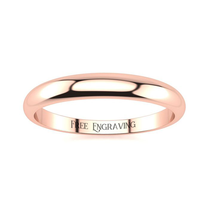 14K Rose Gold (2.4 g) 3MM Heavy Tapered Ladies & Mens Wedding Band, Size 9, Free Engraving by SuperJeweler