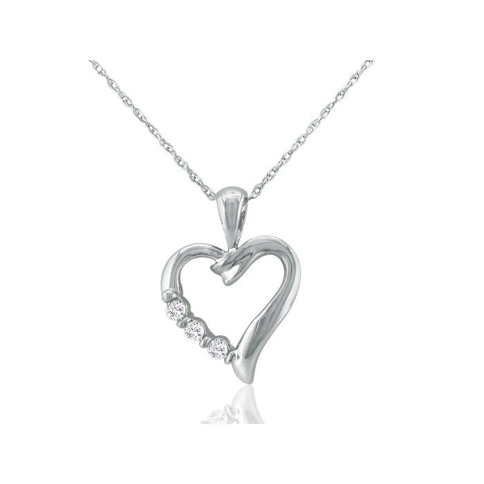 Image of .08ct Three Diamond Heart Pendant in 10k White Gold