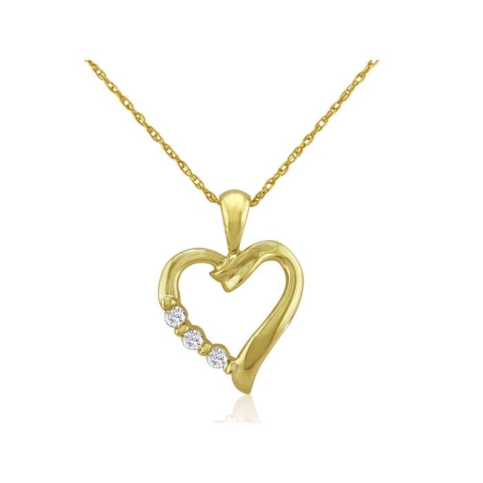 .08 Carat Three Diamond Heart Pendant Necklace in 10k Yellow Gold