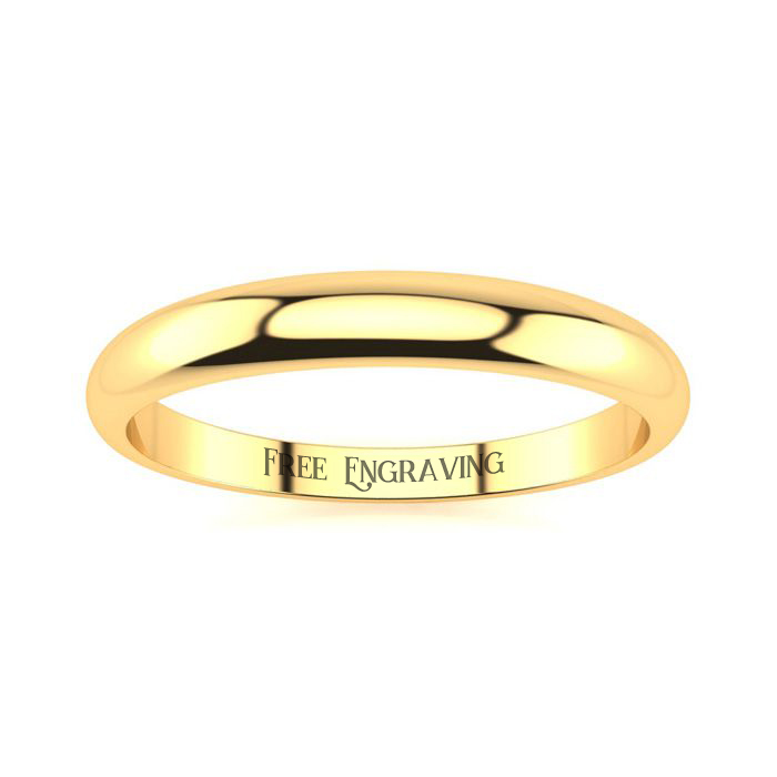 14K Yellow Gold 3MM Heavy Tapered Ladies and Mens Wedding Band, Size 12, Fre..