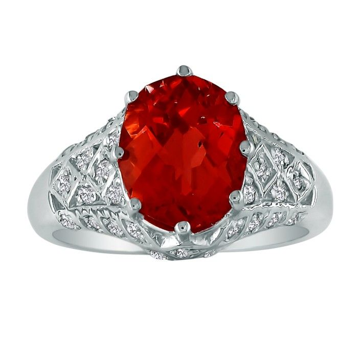 Quilted Antique Look Garnet and Diamond Ring in 10k White Gold