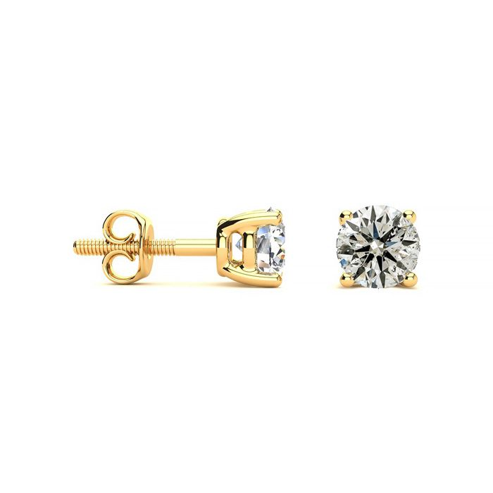 1.25 Carat Diamond Stud Earrings in 14k Yellow Gold, K/L by Hansa