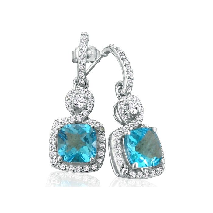 Dangling Micropave Blue Topaz & Diamond Earrings, 14K White Gold,