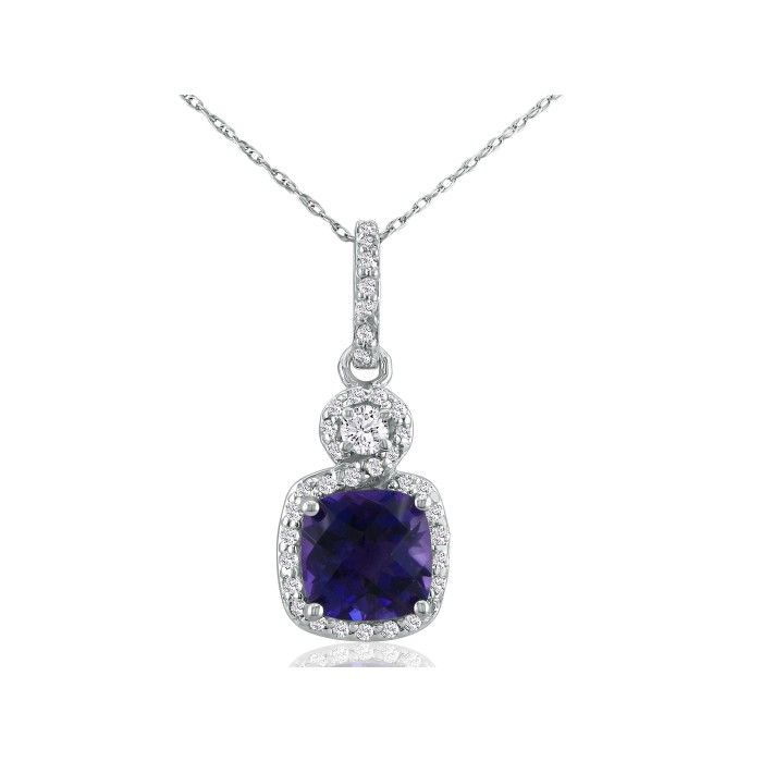 Dangling Micropave Amethyst and Diamond Pendant, 14k White Gold