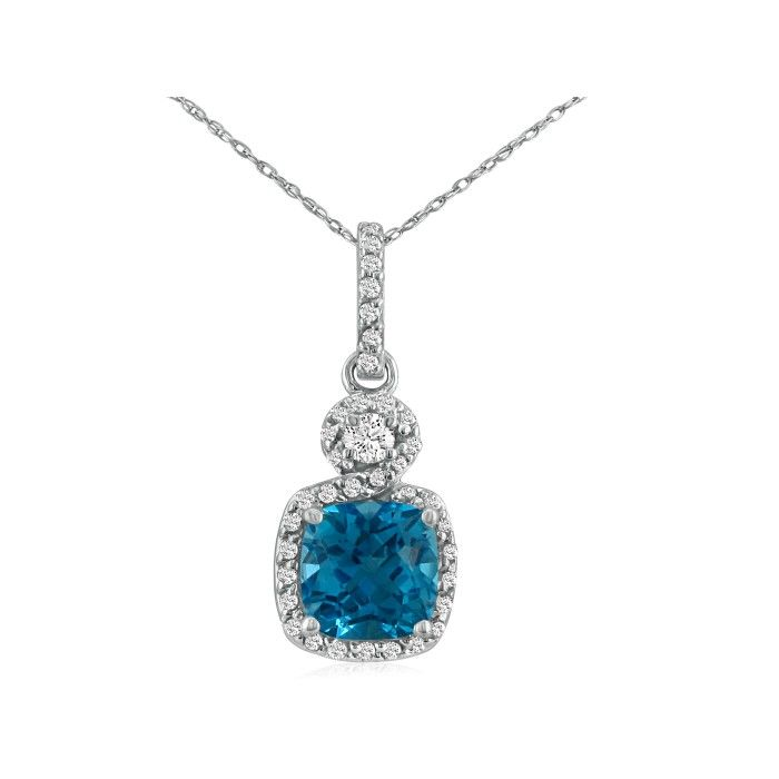 Image result for DANGLING MICROPAVE BLUE TOPAZ AND DIAMOND PENDANT, 14K WHITE GOLD