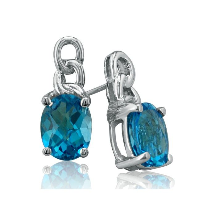 Open Chain Design 3 Carat Blue Topaz Earrings in 10k White Gold b