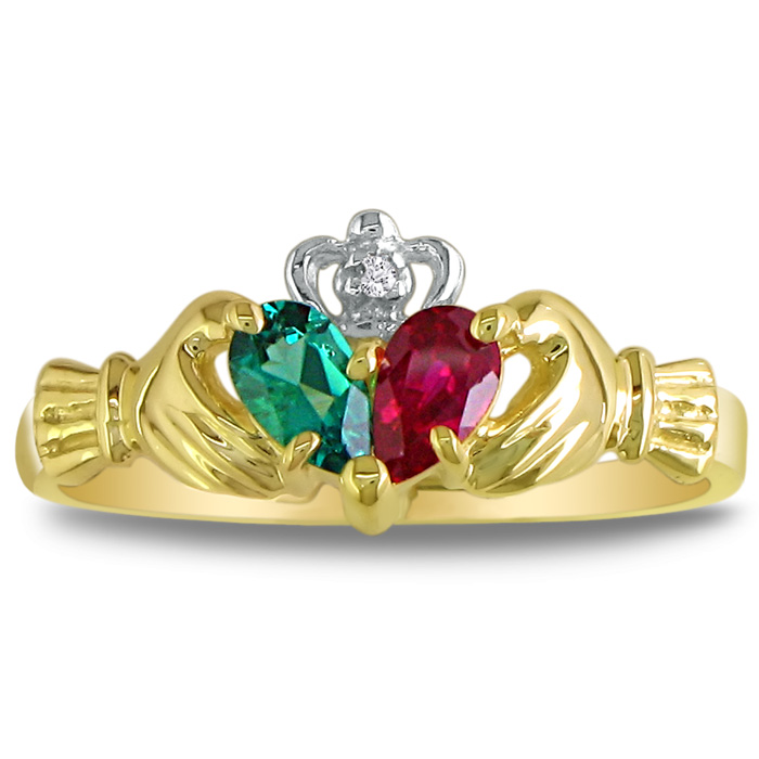 Emerald & Ruby Claddagh Ring in 10k Yellow Gold, I/J by SuperJeweler