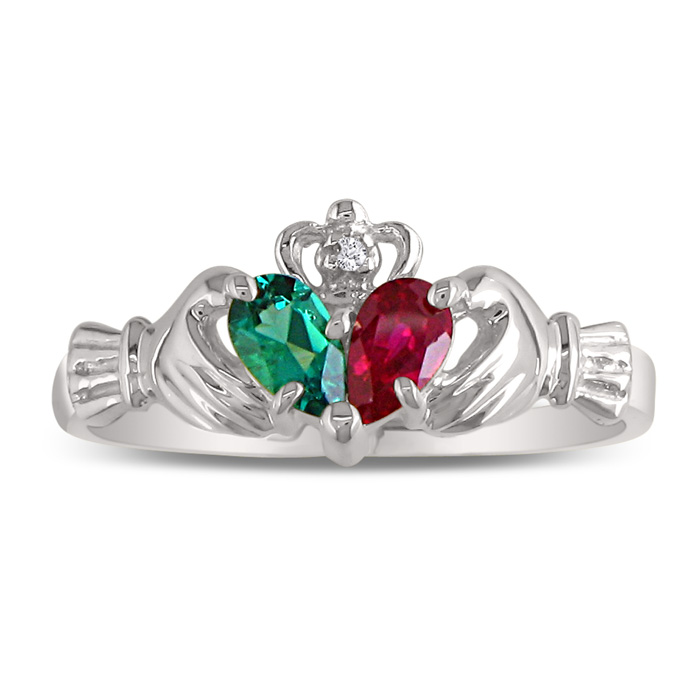 Emerald & Ruby Claddagh Ring in 10k White Gold, I/J by SuperJewel