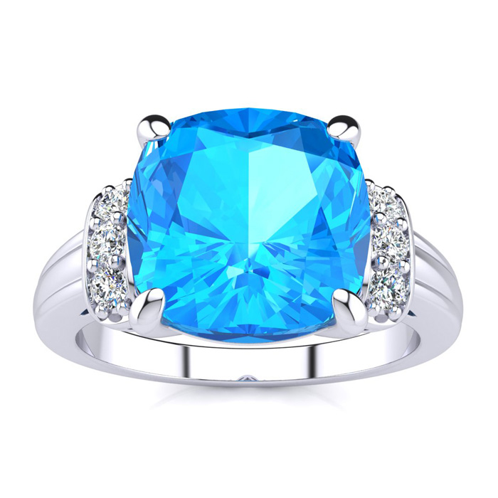 Image of Large Blue Topaz and Diamond Ring in 10k White Gold