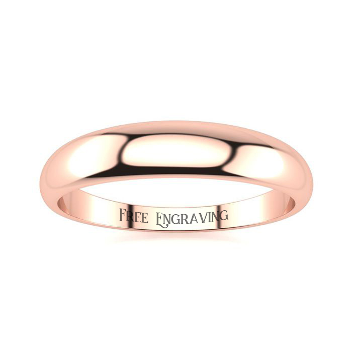 14K Rose Gold (2.4 g) 4MM Heavy Tapered Ladies & Mens Wedding Band, Size 5.5, Free Engraving by SuperJeweler