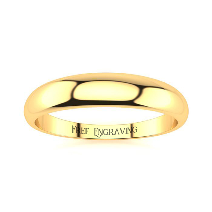 14K Yellow Gold (3.3 g) 4MM Heavy Tapered Ladies & Mens Wedding Band, Size 14, Free Engraving by SuperJeweler