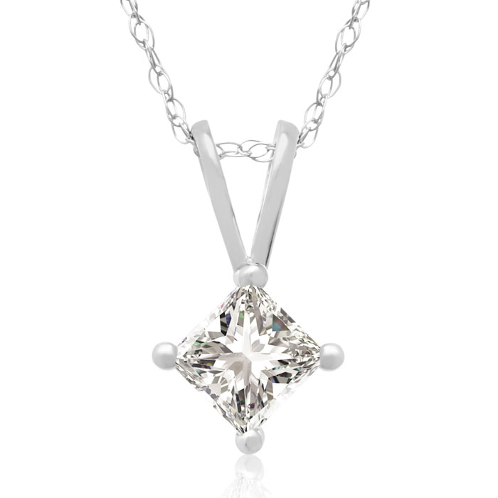 1/3 Carat Princess Cut Diamond Pendant Necklace in 14k White Gold, I/J, 18 Inch Chain by Hansa