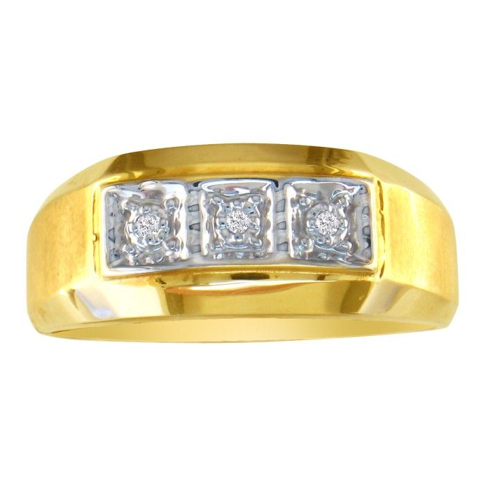 Classic Styled Mens Promise Ring w/ Three Diamonds 10k Yellow Gol