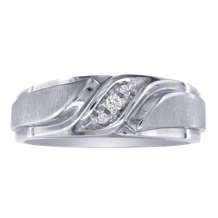 Mens Promise Ring w/ Three Diamonds in 10k White Gold (5.2 g), I/J by SuperJeweler