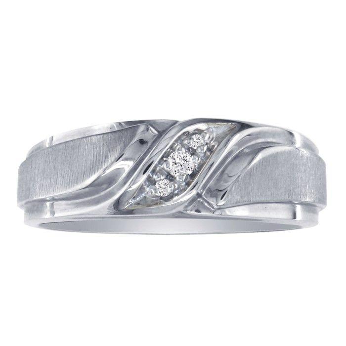 Mens Promise Ring w/ Three Diamonds in 10k White Gold (5.2 g), I/