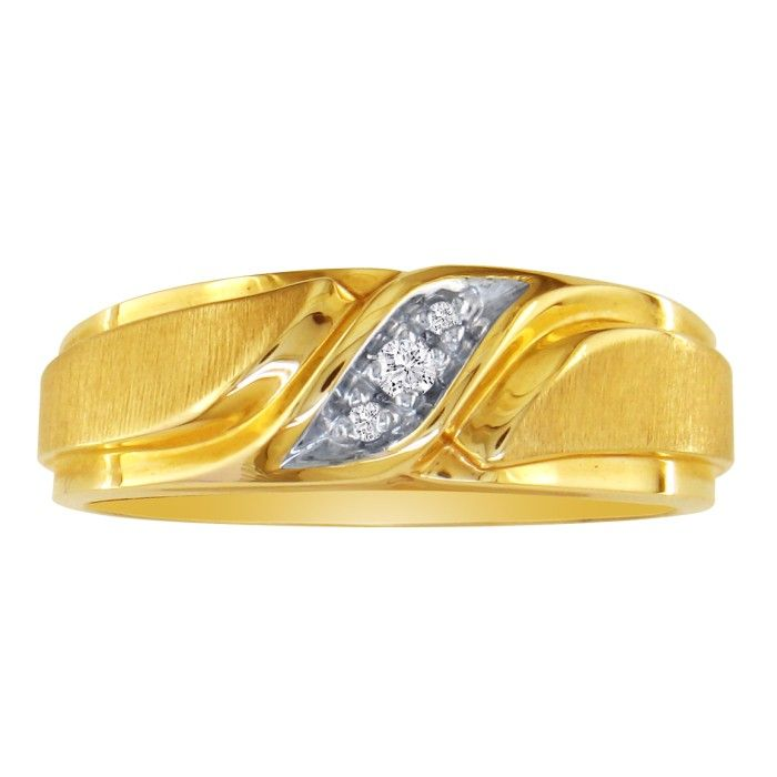 Mens Promise Ring w/ Three Diamonds in 10k Yellow Gold (5.2 g), I/J by SuperJeweler