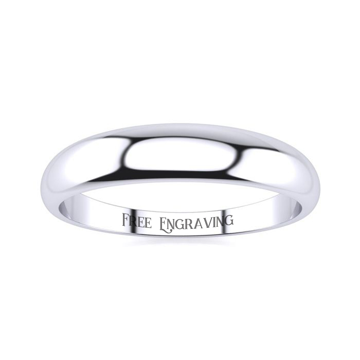Platinum 4MM Heavy Tapered Ladies & Mens Wedding Band, Size 6.5,