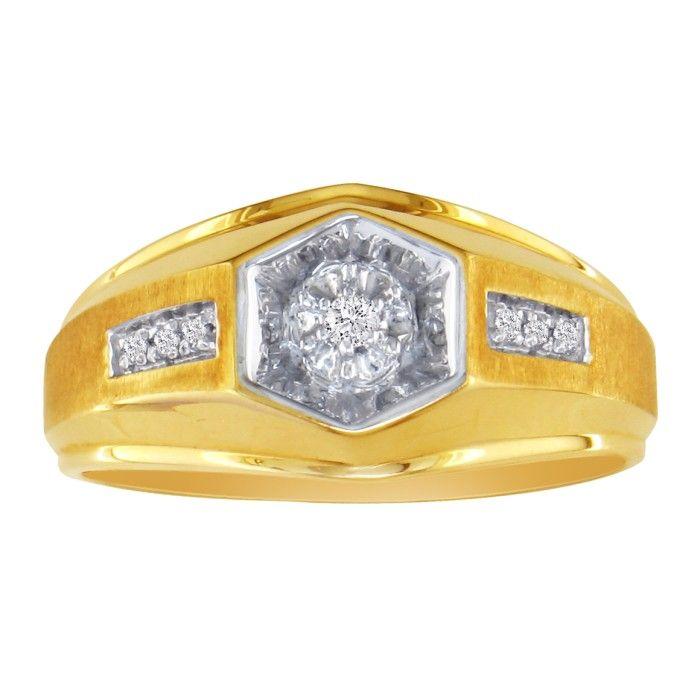 Mens Promise Ring w/ 7 Diamonds in 10k Yellow Gold (4.6 g), I/J b