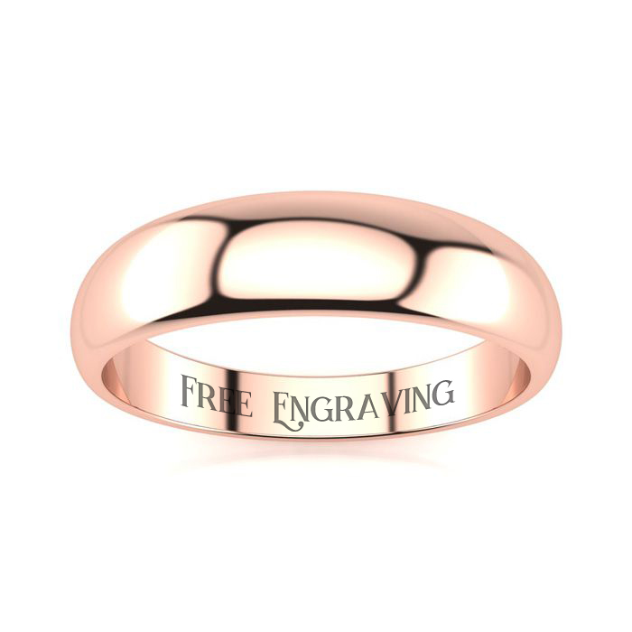 10K Rose Gold (4 g) 5MM Heavy Tapered Ladies & Mens Wedding Band,