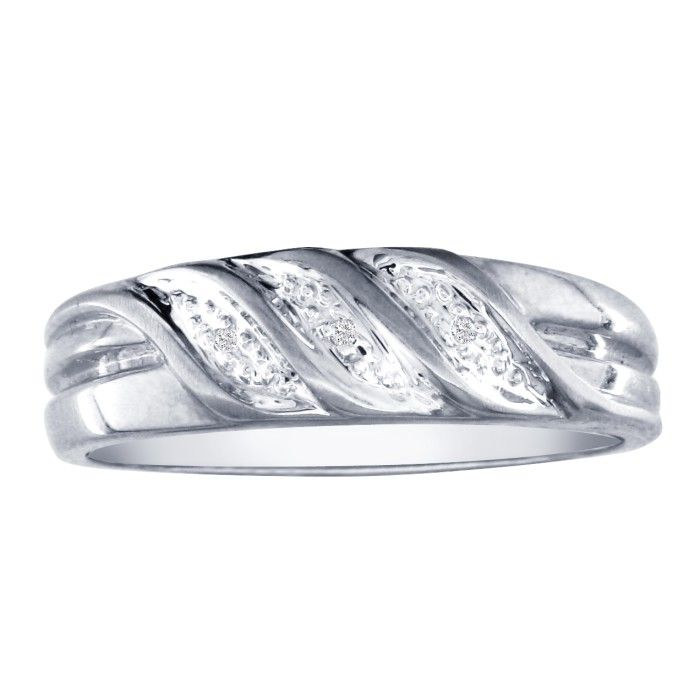 Mens Flowing Diamond Wedding Band in 10k White Gold (3 g), I/J by