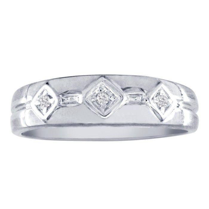 Mens Modern Diamond Wedding Band in 10k White Gold (3 g), G/H by