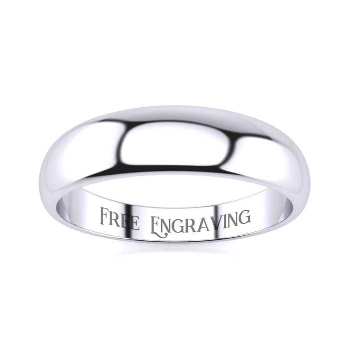 10K White Gold (4.4 g) 5MM Heavy Tapered Ladies & Mens Wedding Band, Size 17, Free Engraving by SuperJeweler