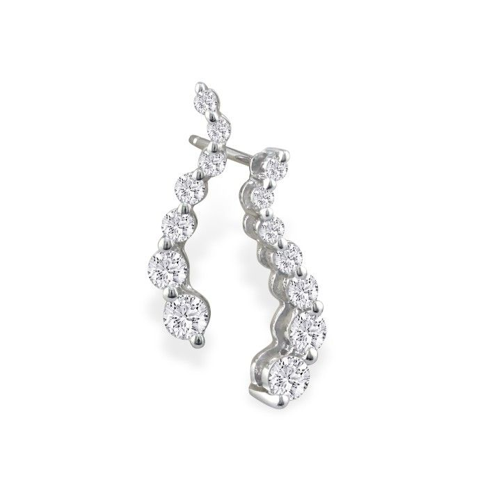 1 Carat Journey Diamond Earrings in 14k White Gold (3 g), G/H by
