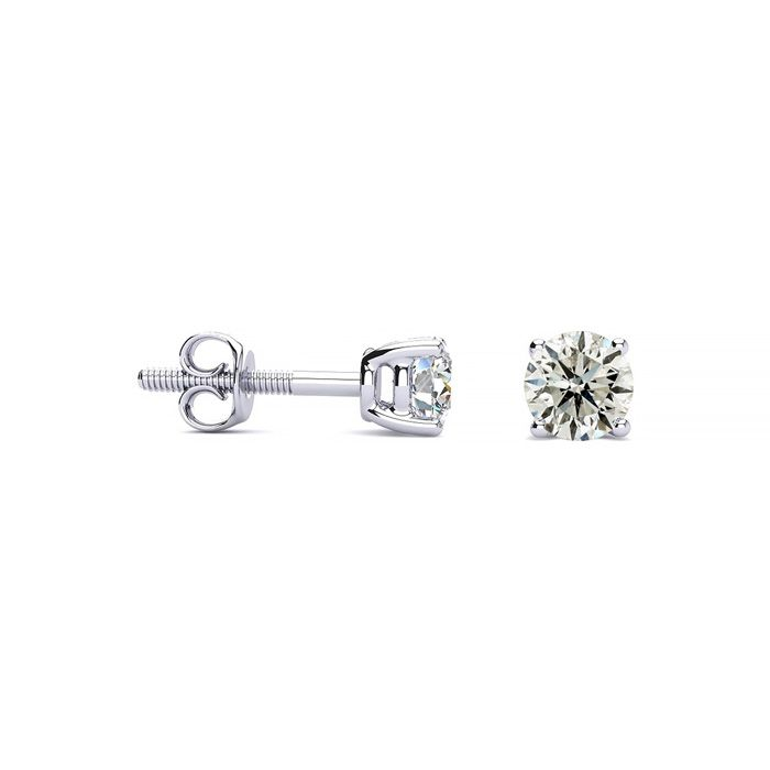1/3 Carat Diamond Stud Earrings in 14k White Gold, I/J by SuperJe