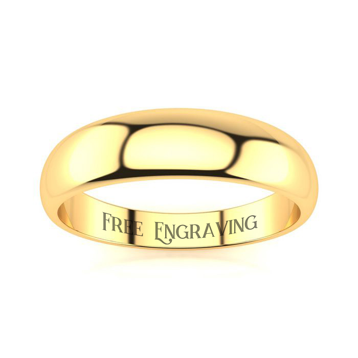 14K Yellow Gold (3 g) 5MM Heavy Tapered Ladies & Mens Wedding Band, Size 4.5, Free Engraving by SuperJeweler