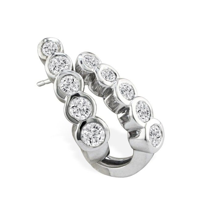 3/4 Carat Bezel Set Journey Diamond Hoop Earrings in 14k White Go